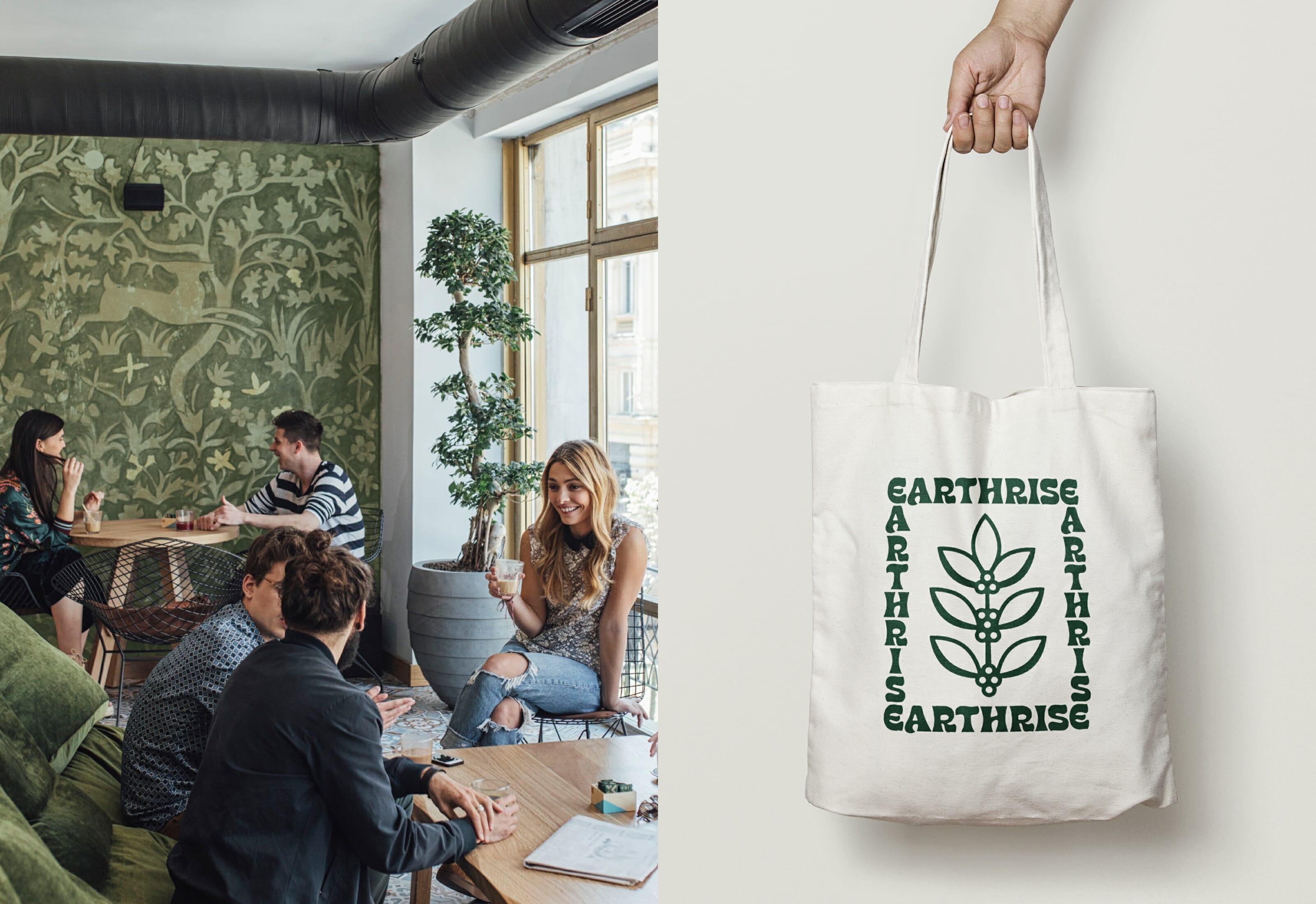 Earthrise Coffee Roasters Brand Identity Canvas Bag Illustration
