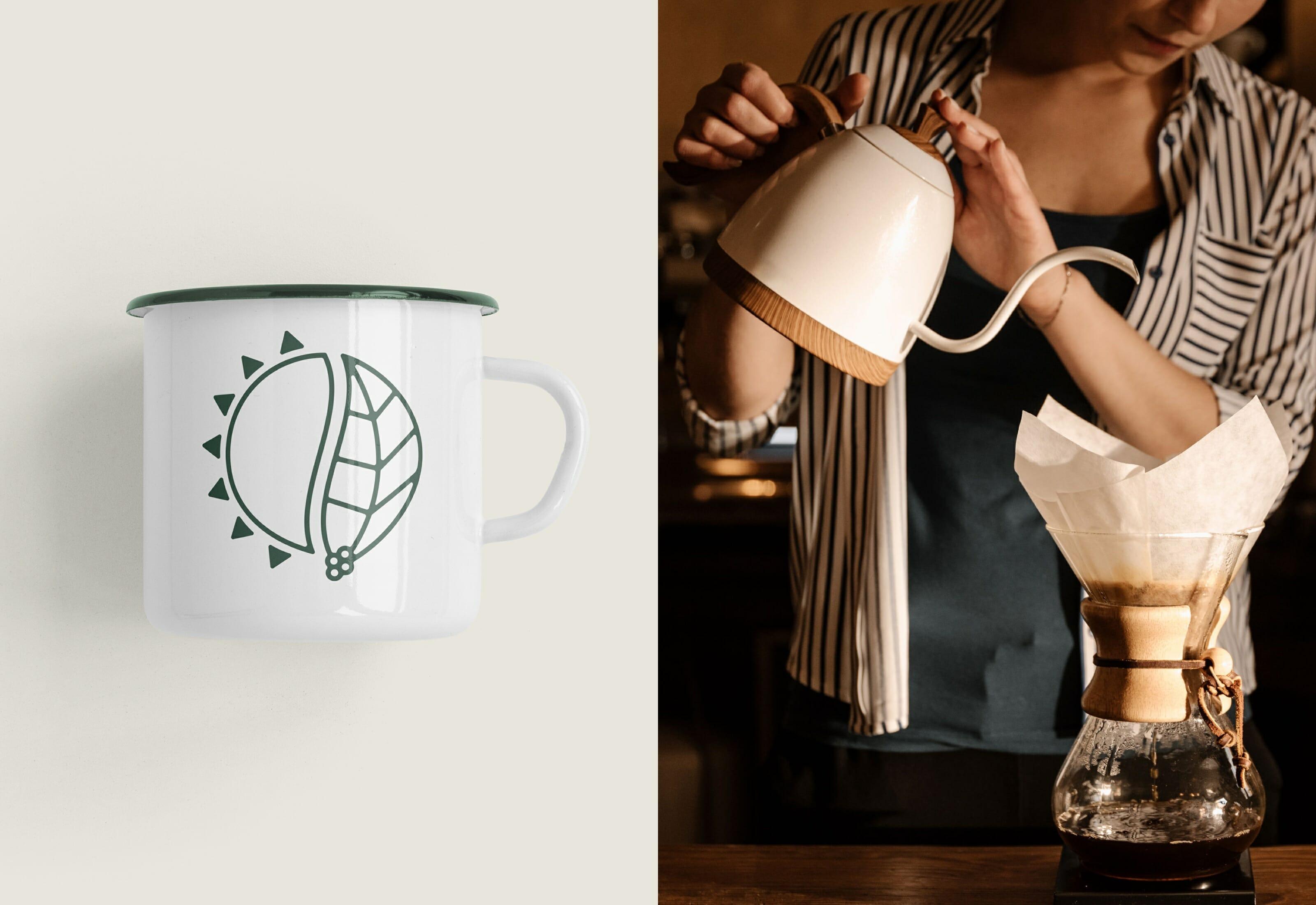 Earthrise Coffee Roasters Brand Identity Enamel Mug Illustration