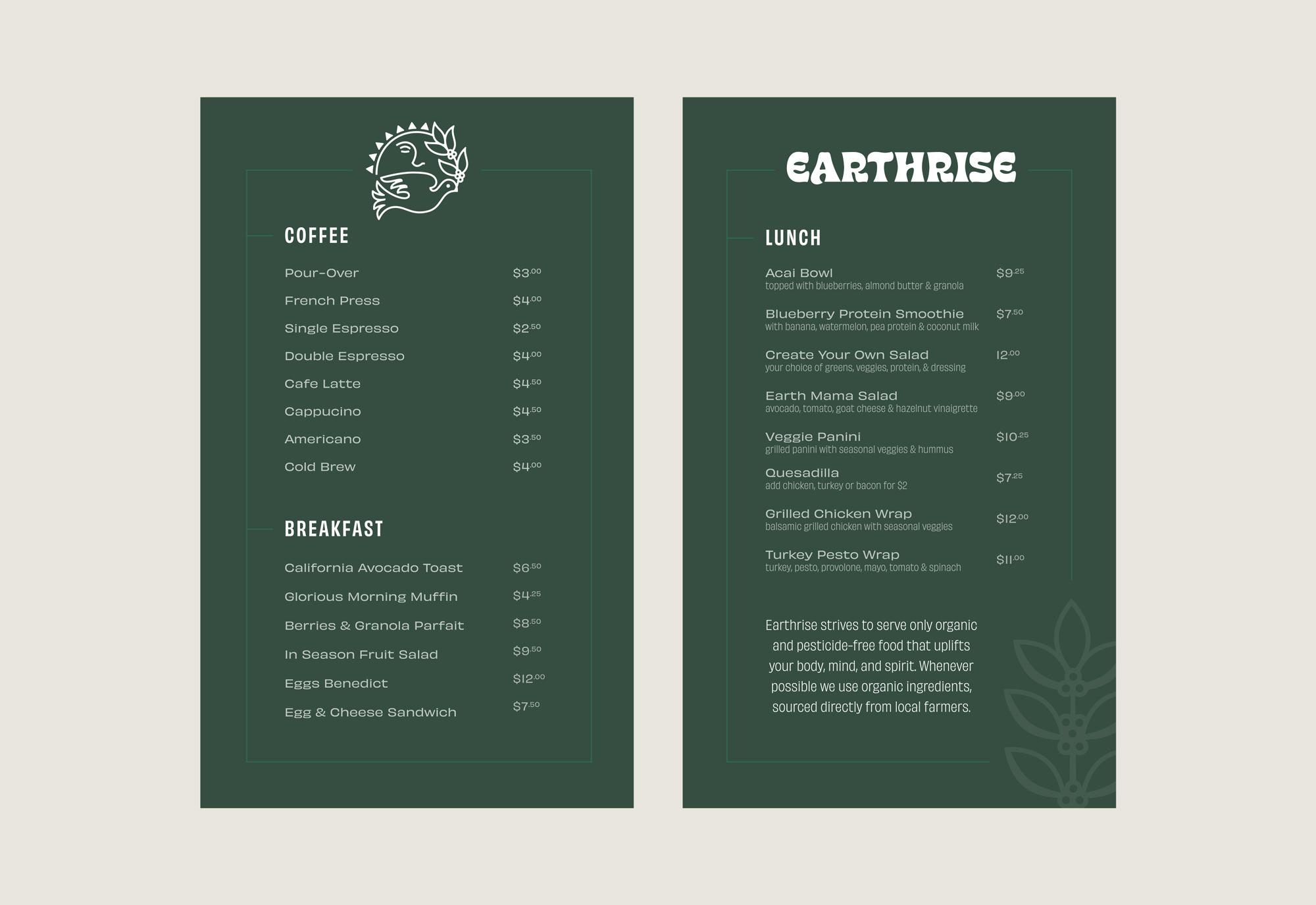 Earthrise Coffee Roasters Menu Branding