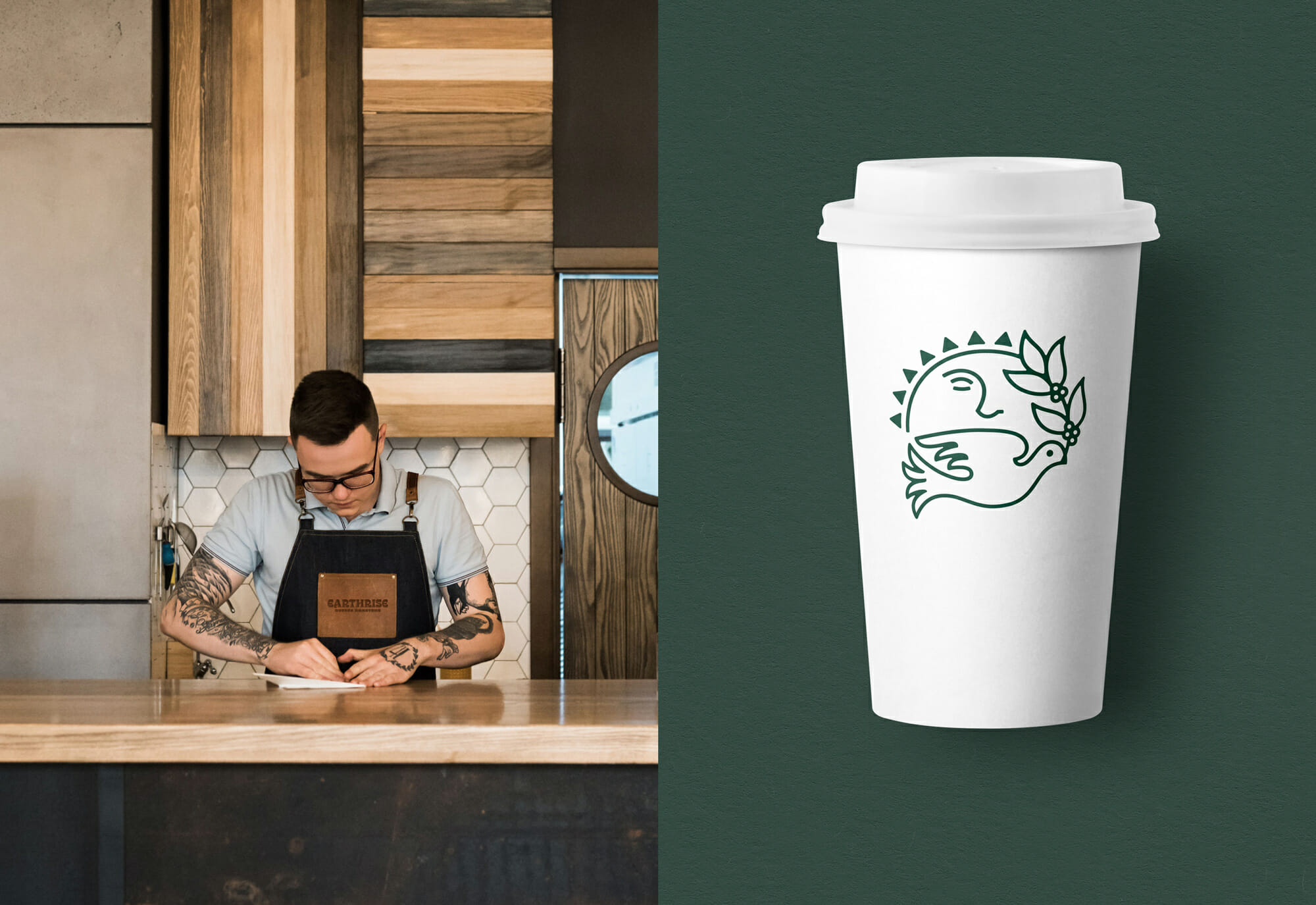 Earthrise Coffee Roasters Branding Paper Coffee Cup