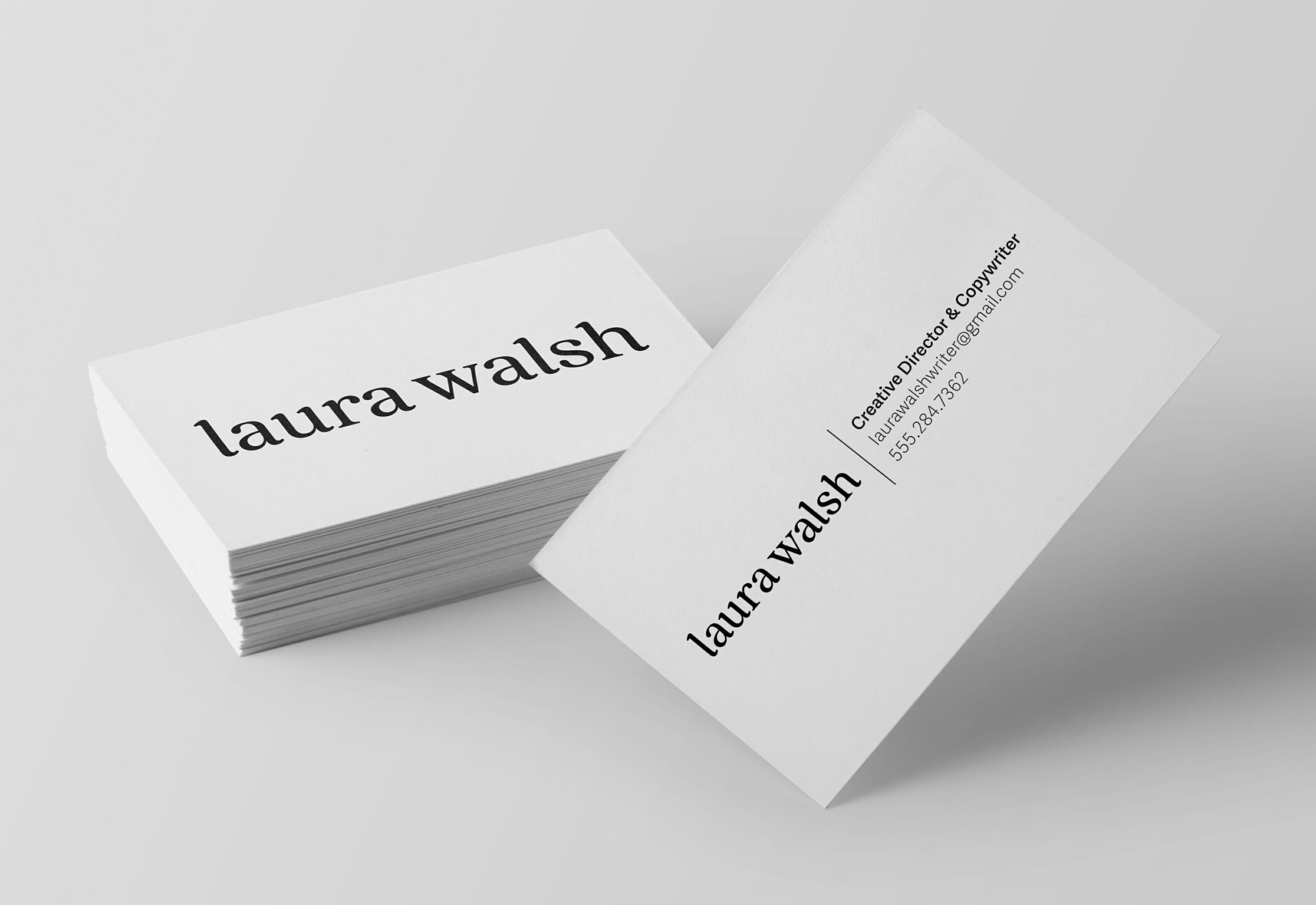 Laura Walsh Logotype Business Cards Front and Back by Mark Lundberg
