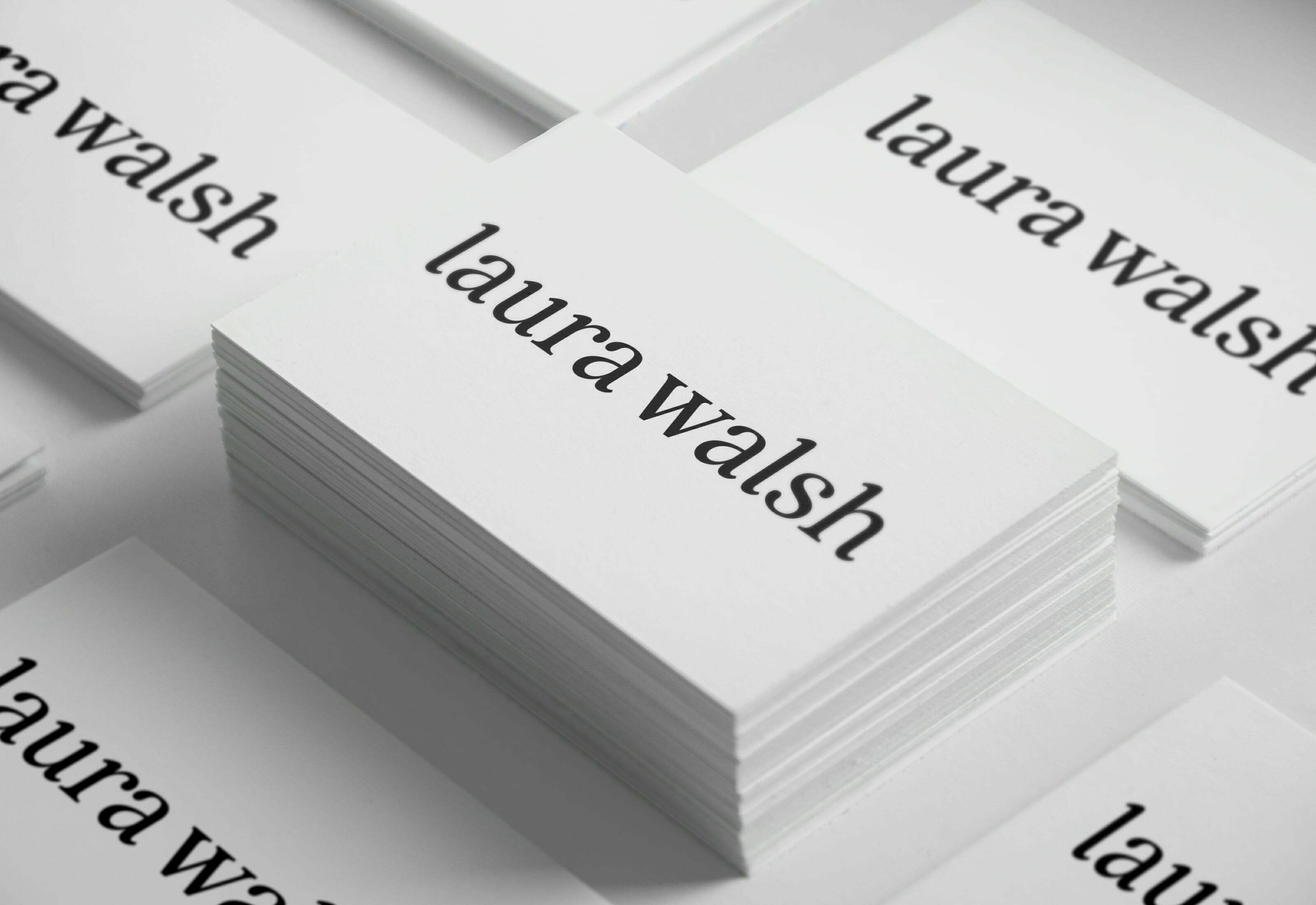 Laura Walsh Logotype Business Cards In Grid by Mark Lundberg