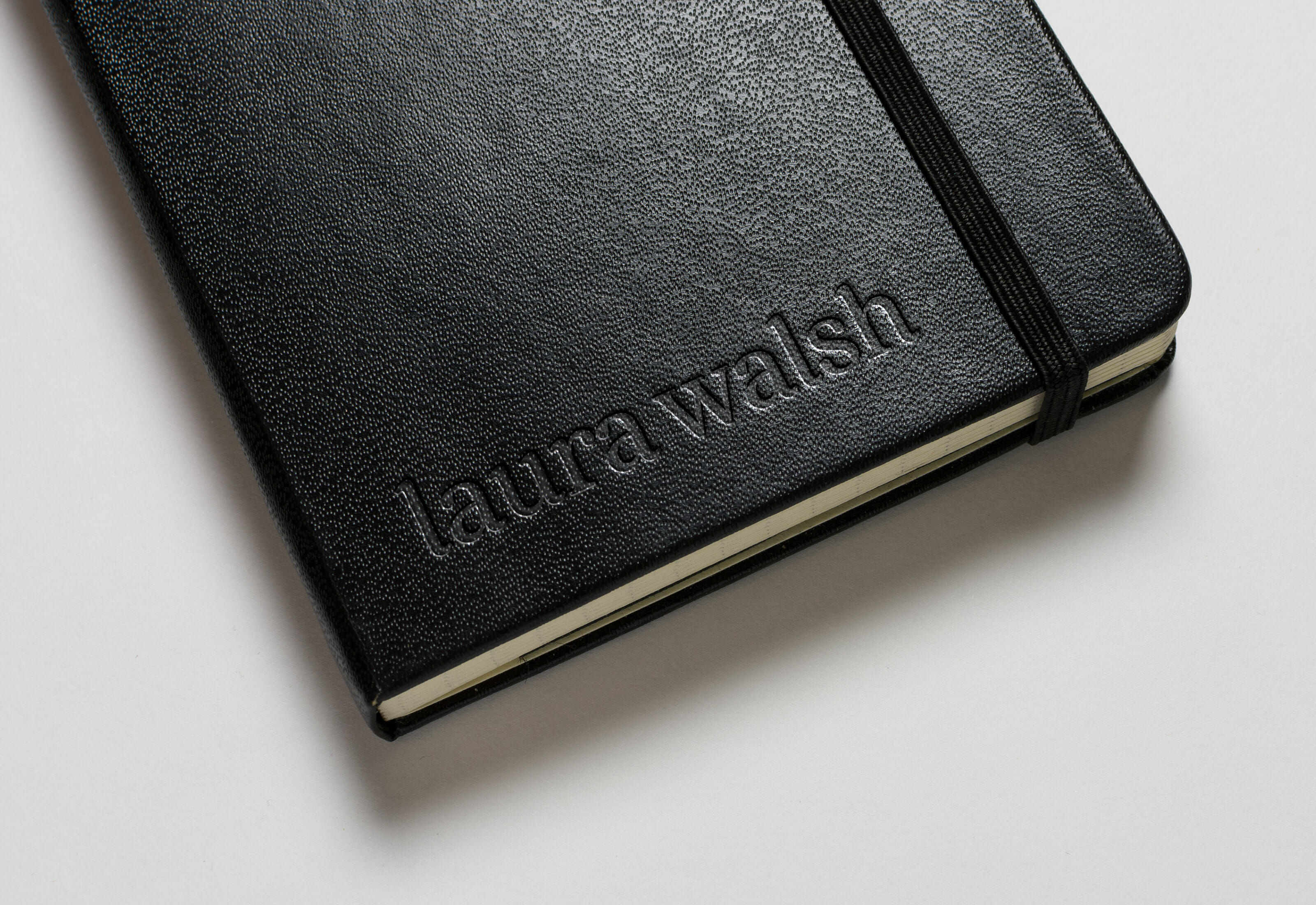 Laura Walsh Logotype Leather Notebook Stamped Logo by Mark Lundberg