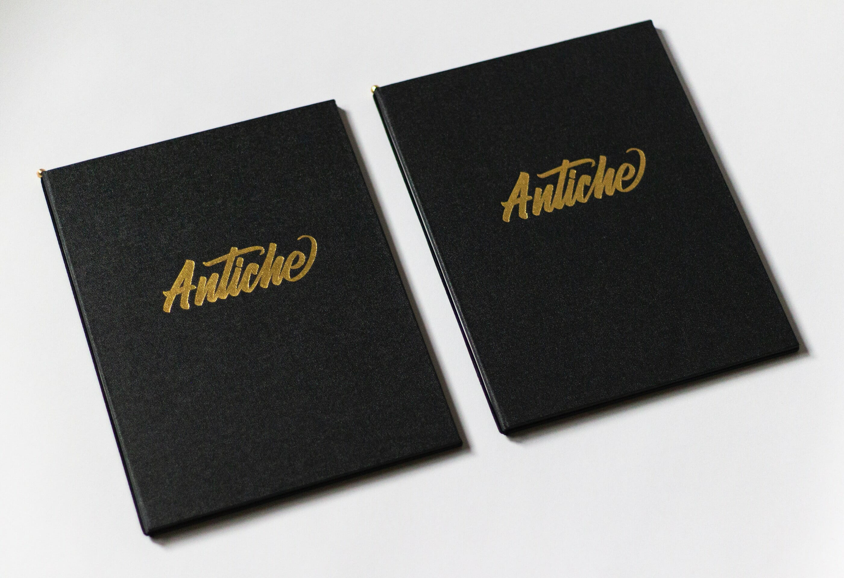 Antiche Restaurant Menus Angled Custom Lettered Logotype Gold Foil by Mark Lundberg
