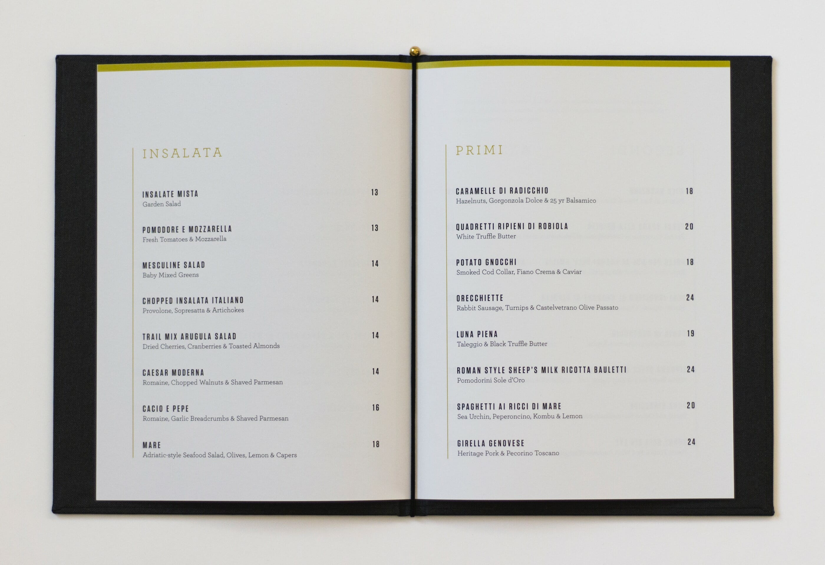 Antiche Restaurant Menu Spread | Visual Identity by Mark Lundberg