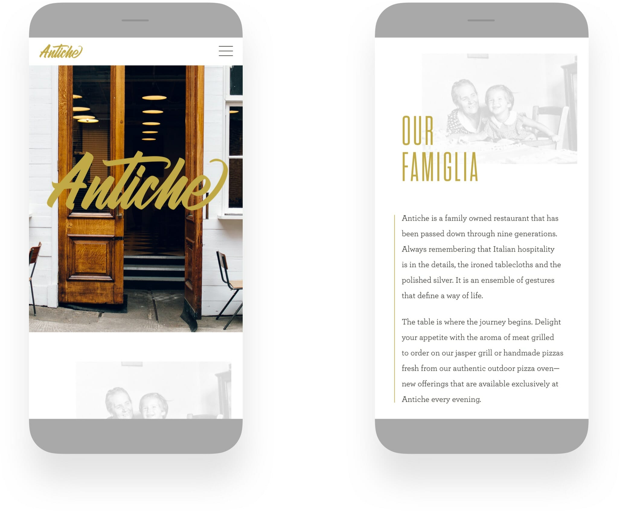 Antiche Restaurant Mobile Responsive Web Design by Mark Lundberg