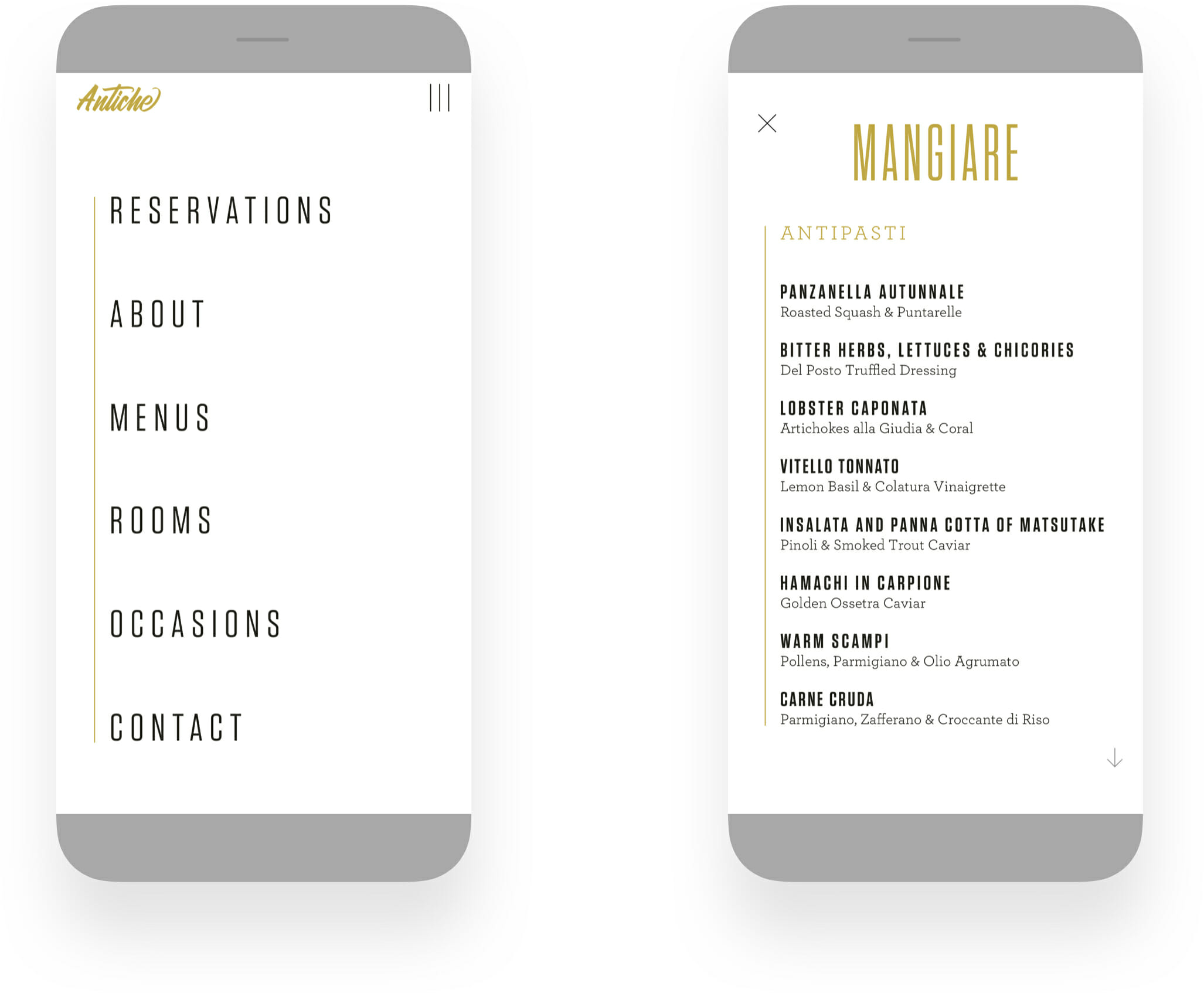 Antiche Restaurant Mobile Web Design